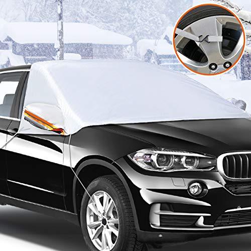 Audew Frontscheibenabdeckung Auto Scheibenabdeckung Windschutzscheibe Auto Anti-Schnee Halbgarage Winterschutz Eisschutzfolien mit Spiegel Schutz (Zwei Größe)