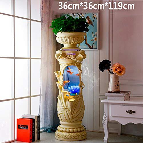 JIANGU Zylindrisches Acryl-Aquarium im europäischen Stil, im Wohnzimmer gestaltender Wassertank