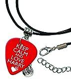 Keep Calm And Love Harry Styles One Direction Pick de guitarra collar de cordón de cuero (GD)