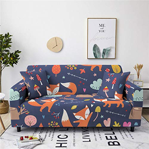 Stretch Sofa Couch Covers Elastic Fabric Cartoon Red Fox Pattern All-Inclusive Loveseat Cover Anti-Slip Tight Wrap Settee Slipcover For Furniture Decor,3,seater 190,230cm