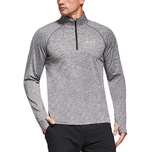 Ogeenier Herr 1/4 dragkedja fleecefodrad jacka med fickor, långärmad termisk golf gym löpning topp cykling t-shirt med tumhål, ljunggrå, S