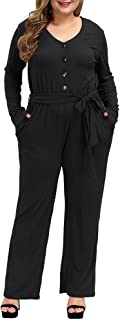 Allegrace Plus Size Jumpsuits for Women Casual Comfy Button Up Long Sleeve Tie Knot Pocket Jumpsuit Rompers