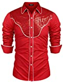 vintage cowboys shirt - COOFANDY Men's Western Cowboy Shirts Sequin Embroidery Long Sleeve Button Down Vintage Shirt (Wine Red XL)