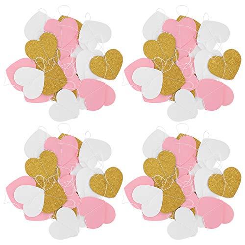Guirnalda de papel, guirnalda de papel para colgar, decoración de guirnalda fuerte y hermosa decoración de cumpleaños para el día de San Valentín para bodas(Love)