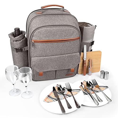 Sunflora Isolierter Picknick-Rucksack für 2 Personen Tasche mit Kühlfach, Weinbeutel, Decke und Edelstahl-Besteck-Set für Paare, Verliebte und Freunde (Pinselbeige)