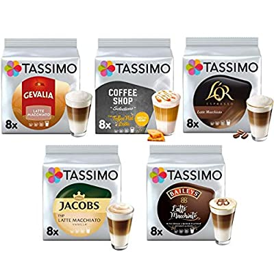 Tassimo Coffee Latte Macchiato Selection- Baileys/L'OR Latte Macchiato/Coffeeshop Selection Toffee-Nut Latte/Jacobs Latte Macchiato Vanilla/Gevalia Latte Macchiato Coffee Pods - 5 Packs (40 Servings)