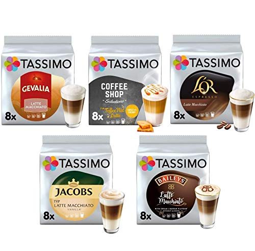 Tassimo Latte Macchiato Kollektion - Gevalia/Baileys/L'OR Latte Macchiato/Coffeeshop Selectionl Toffee-Nut Latte/Jacobs Latte Macchiato Vanilla - 5 Packungen (40 Getränke)
