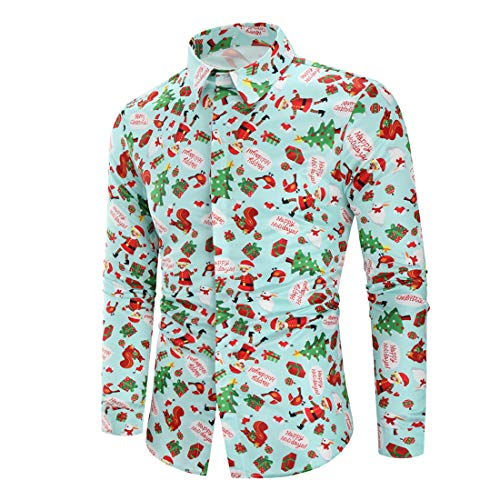 CAZOY Christmas Xmas T-Shirt Men's Long Sleeve Funky Ugly 3D Print Tees Party Shirts Tops Blouse Mens Casual Fashion Oversized Buttons Down Lapel Cotton Linen Slim Fit Sweatshirt Jumper Cardigan