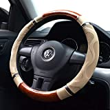 Amo Microfiber Leather Car Steering Wheel Cover, Massage Design, Comfortable and Anti-Slip, fits All 14.5' to 15' (M) Steering Wheels, Beige