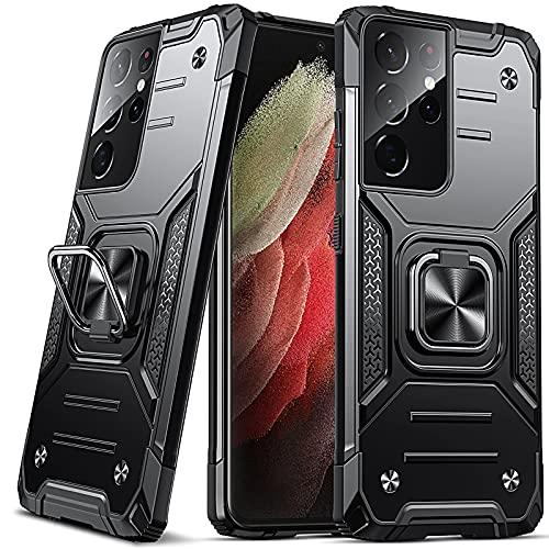 DASFOND Galaxy S21 Ultra 5G Cover, Grado Militare Custodia con Cavalletto in Metallo Rotante a 360° [Supporto Montare a Magnete], Compatibile con Samsung Galaxy S21 Ultra 5G, Nero