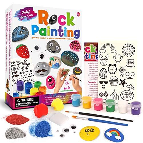 ocijf179 Kids Creative Handmade Pebble Stone Graffiti Painting Art DIY Drawing Toy Set,Perfect Intellectual Toy Gift Set Rock Painting