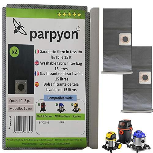 Parpyon® Bolsas para aspiradora Balck Decker – Annovi Reverberi 15 l Stanley N. 2 filtros aspiradora Filtro HEPA de tela lavable Accesorios Aspirador (15 l B&D-AR)