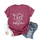 Women The Lake is My Happy Place T Shirt Sunshine Lake Life Casual Short Sleeve Tee Tops(Pink S)