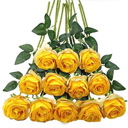 Tifuly 12 PCS Künstliche Rosen, 19,68 '' Single Long Stem Fake Rose Seide Braut Hochzeitsstrauß Realistische Blume für Hausgarten Party Hotel Büro Dekor (Blossom Roses, gelb)