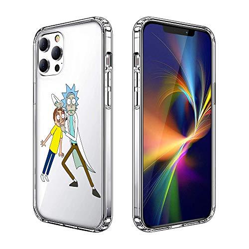 Schutzhülle für iPhone 12, iPhone 12 Pro, bedruckt, modisch, kratzfest, klare Rückseite, HD klar (Rick-and-Morty)