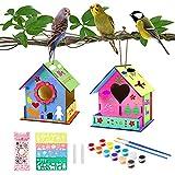colmanda 2 Pcs Casa de pájaros para Pintar de Bricolaje, Kit de Casas de Pájaros de Madera DIY...