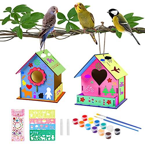 colmanda 2 Pack DIY Vogelhaus Kit, Holz Vogelhaus Kit Vogelhaus Pigment Bemalen Unvollendete Set mit Malerei Werkzeuge, DIY Kreativ Spielzeug Geschenk Vogelhaus Bausatz für Kinder Geburtstag