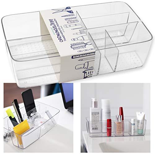 Hausfelder ORDNUNGSLIEBE Kosmetik Schreibtisch Organizer - transparente Bad Büro Aufbewahrung für Schminke Stifte