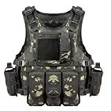 Lixada Chaleco Táctico Multifuncional Respirable Desmontaje Rápido Equipo de Entrenamiento para CS Field Protections Vest (Camflaje Negro)
