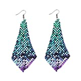 Metme Fish Scale Earrings Lightweight Colorful Dangle Long Sequin Earring Sparkling Earring Sets Party Wedding Blue Green