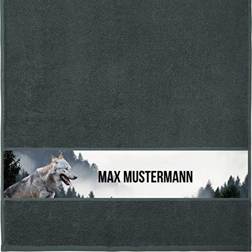 Manutextur Handtuch mit Namen - personalisiert - Motiv Tiere - Wolf - viele Farben & Motive - Dusch-Handtuch - anthrazit - Größe 50x100 cm - persönliches Geschenk mit Wunsch-Motiv und Wunsch-Name