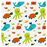 Splash Mat Práctico Protector piso Alimentación Plegable Impermeable Lavable Accesorios impresión dibujos animados Bebé antideslizante Splat Portátil para trona(Mundo submarino)