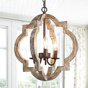 KSANA Farmhouse Orb Chandelier, Handmade Wood Light Fixture for Dining & Living Room, Foyer, Bedroom, Kitchen Island and Entryway