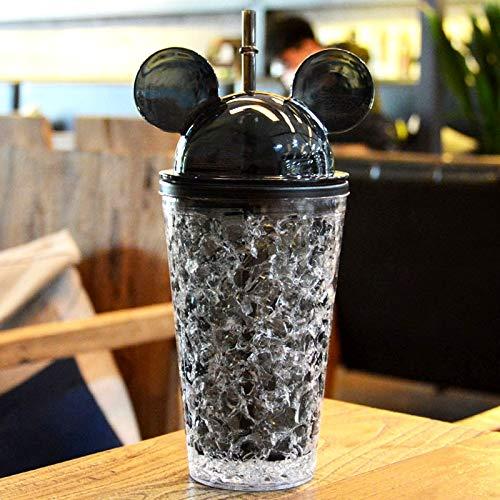 Termos y Copas Botella de Bebida AS-Made a Prueba de Fugas de 450 ml, con una Linda Gorra con Tapa y Paja para el día de Verano Termos y Copas (Color : Black)