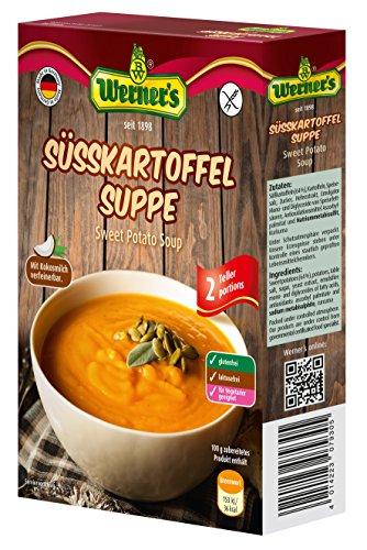 Werner´s Süsskartoffelsuppe, 10 Packungen, Süßkartoffelsuppe für 500 ml Flüssigkeit, glutenfrei, laktosefrei, ohne zugesetzte Aromen, für Vegetarier geeignet,