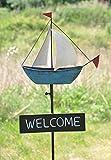 Haushalt International Metall Schild Welcome Segel-Boot Bodenstecker Segelschiff Gartenstecker