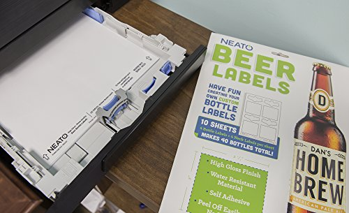 Product Image 5: Neato Blank Beer Bottle Labels – 10 Sheets – 40 Total Labels – Water Resistant, Vinyl, Tear Free Labels for Inkjet Printers – Strong Adhesive – Includes Online Design Beer Label Software