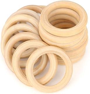 RUBY - 20 Aros de madera natural para manualidades, aros de