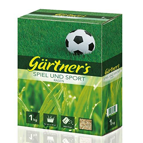 Gärtner's Sport- und Spielrasen 1 kg I Rasensamen für strapazierfähigen Rasen I RSM-Saatgutmischung zur Einsaat & Nachsaat I Für bis zu 40 m²