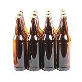 Bottiglie di vetro marrone con 12 tappi dorati, confezione da 12, Vetro, 650 ml