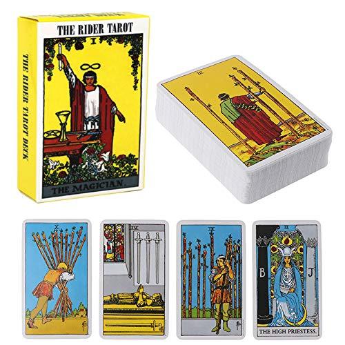 Versione Inglese Tarot Deck, Tarot Deck 78 Carte Cartoline Tarocchi e Set di Libri, Giochi da Tavolo per Feste con Istruzioni per la Carta dei volantini