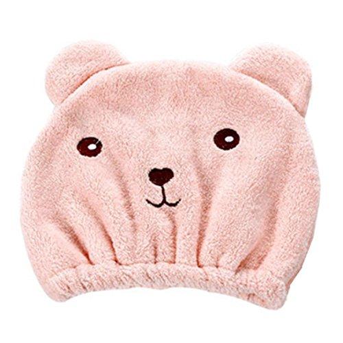 bobo4818 Duschtücher, Microfiber Hair Turban schnell trockenes Haar Hut gewickelt Handtuch Badekappe (rosa)