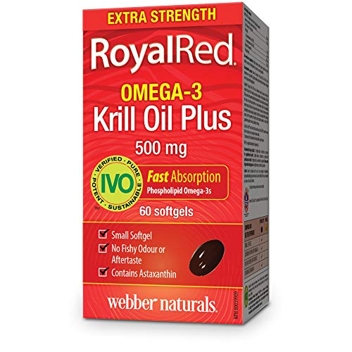 Webber Naturals Royalred Extra Strength Omega-3 Krill Oil Plus, 500 Mg, 60-Count