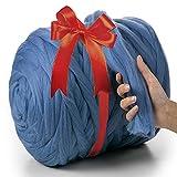 MeriWoolArt 100% Lana Merino Hilo Grueso de Manta XXL 4-5 cm, Hilo Gigante, Merino Mana Gruesa Suave, Fieltro de Lana Seco Mojado, DIY Manta Grande Lana Regalo Navidad (Azul Claro, 4,5 kg Ovillo)