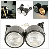 Motorcycle Twin Front Headlight lamp W/Bracket For Harley Street Fat Boy Dual Sport Dirt Bikes Street Fighter Naked Cafe Racer