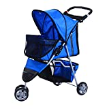 PawHut Deluxe 3 Wheels Pet Stroller Foldable Dog Cat Carrier Strolling Jogger