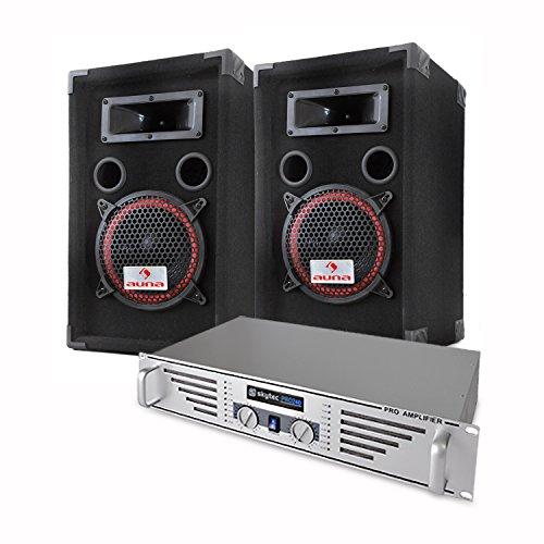 elektronik star DJ/PA Komplettset Basic mit PA-240 480W PA-Verstärker Anlage und 1000W PA-Boxen + Mikrofon & Kabelset