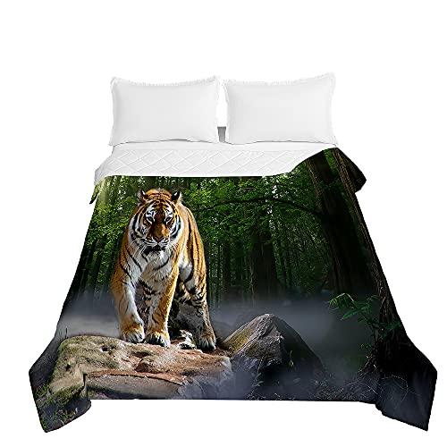 Surwin 3D Tiger Tagesdecken Bedrucktes Bettüberwurf aus Mikrofaser, Gesteppt Steppdecke für Doppelbett Einzelbett oder Kinder, Sommer Komfort Prägung Tagesdecken (Grüner Dschungel,180x220cm)