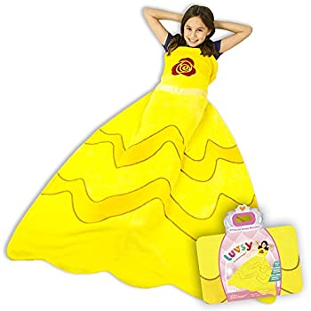 Luvsy Princess Dress Blanket - Throw for Kids Soft All Season Sleeping Blanket Lively Yellow Pattern