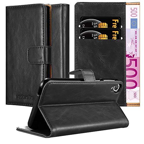 Cadorabo Hülle für HTC Desire 820 - Hülle in Graphit SCHWARZ – Handyhülle im Luxury Design mit Kartenfach & Standfunktion - Case Cover Schutzhülle Etui Tasche Book