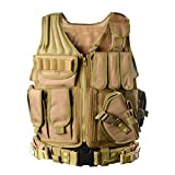 YAKEDA Tactical Vest Outdoor Ultra-Light Breathable Combat Training Vest Adjustable for Adults 600D Encryption Polyester-VT-1063 (Black) (Khaki)