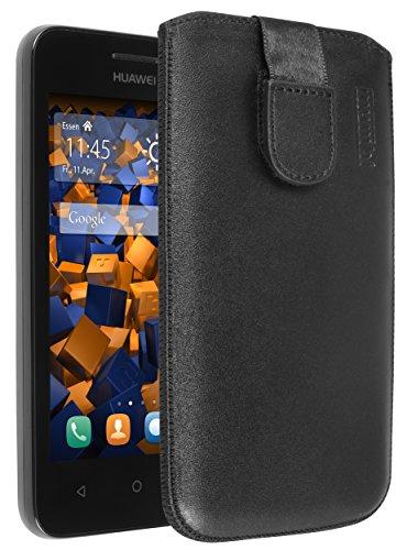 mumbi Echt Ledertasche kompatibel mit Huawei Y3 Hülle Leder Tasche Case Wallet, schwarz