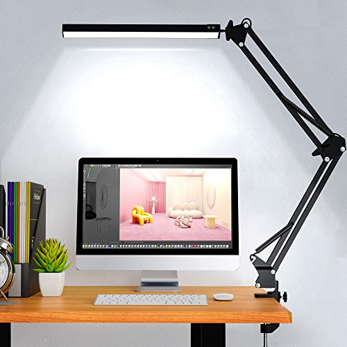Lámpara de Escritorio,Elekin Lámpara de Mesa Clamp,Lámpara de Escritorio LED Lámpara de Lectura Brazo Oscilante Metal con Abrazadera Eye-Care Lámpara de Mesa de Oficina Regulable 3 Modos 10 Niveles