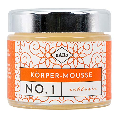 Körper-Mousse exklusiv NO. 1 mit Sheabutter, Aprikosenkern- und Jojobaöl, Gourmetduft, vegan, 100 ml, Glastiegel