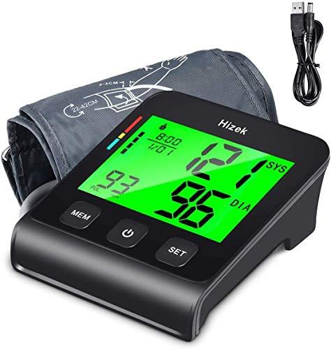 Oberarm Blutdruckmessgerät 4 Zoll Großbildschirm Hizek Digital Blutdruck Messgeräte mit Arrhythmie Erkennung, Speicherfunktion, Standard Manschette, Automatisch Blutdruckmessung