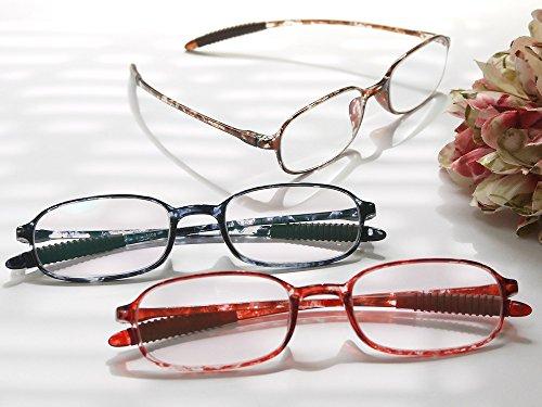 老眼鏡 非球面シニアグラス「TR-258携帯用」 (+1.00, レッドデミ)